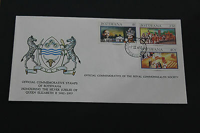 Botswana 1977 Qe2 Silver Jubilee On Scarce Royal Society First Day Cover