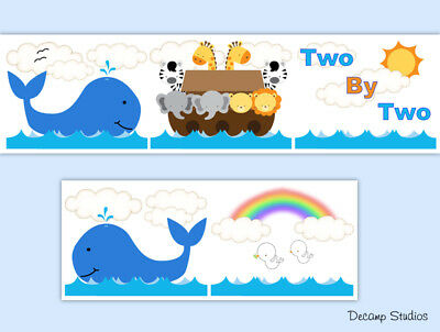 Noahs Ark Baby Nursery Wallpaper Border Animals Wall Art Decals Kids Room Decor