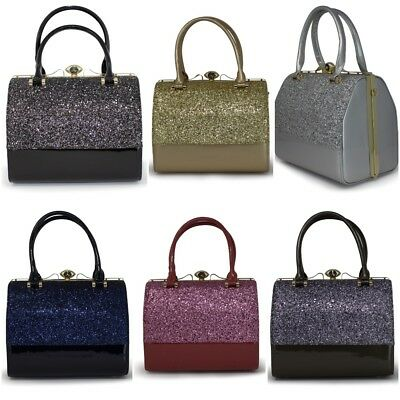 Ladies Duo Tone Glittery Shiny Elegant Grab Bags Tote Evening Handbags - K8027