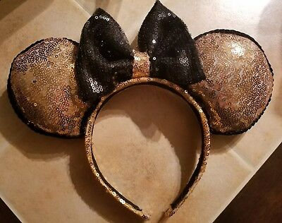 Disney Minnie Mouse Ears- Rose Gold and Black