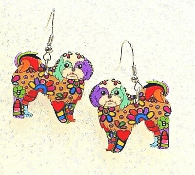 Lhasa Apso Dog Pup Double Sided Earrings Floral Multicolor Acrylic Jewelry