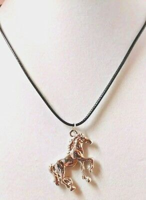 "Horse Silver Alloy Double-sided 17"" Black Cord Necklace Jewelry"