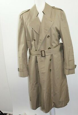 London Fog Mens 40 R Brown Double Breasted Belted Button Front Long Trench Coat