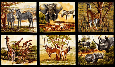 Nature Studies Animals Zebra Elephant Giraffe 100% cotton fabric by the panel