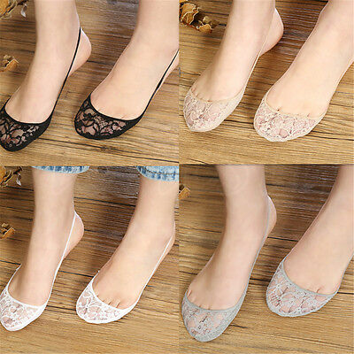 Women Cotton Lace Half feet Antiskid Invisible Liner No Show Low Cut Sling Socks