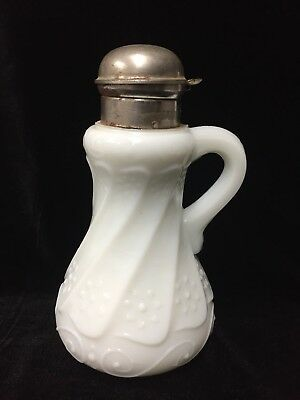 """Antique Victorian  Milk Glass syrup pitcher, swirls and daisy pattern ~ 8"""" tall"""