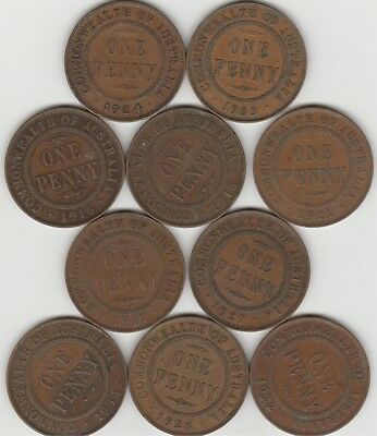 10 x Different George V Pennies No Junk. Free Post. Will ONLY Post to Australia.