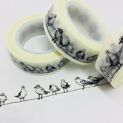 Washi Tape Black Seagulls Seabirds 15Mm X 10Mtr Planner Craft Wrap Scrap Mailart