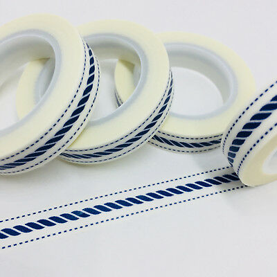 Washi Tape Thin Skinny Dark Blue Barley Twist 10Mm X 10Mtr  Planner Craft Wrap