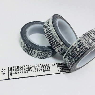 Washi Tape Thin Skinny Black Newsprint 12.5Mm X 10Mtr  Planner Craft Wrap Scrap