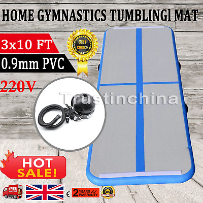 Inflatable Gymnastics Mat Air Tumbling Track Floor Home GYM 10 X3FT With Pump UK