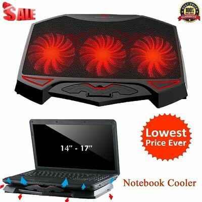 LED Hi-Speed Fan Notebook Cooler Adjustable Dual USB Laptop Cooling Pad Stand GU