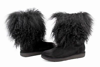 3cfbe50a4 Ugg Lida Curly Mongolian Sheepskin Suede Black Boot With The Fur! Size 5 Us