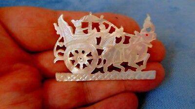 Antique Chinese Carved Mother Of Pearl Shell Brooch  T5