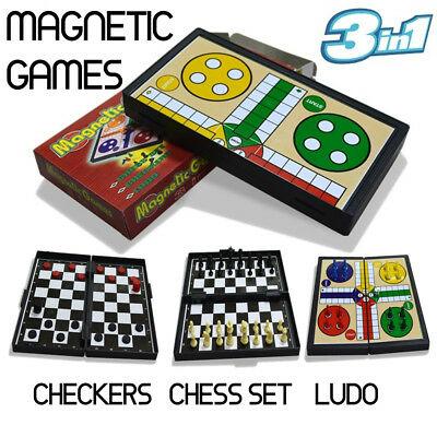 3 in 1 Magnetic Games Checkers Ludo Chess Game Set Educational Toys Family Fun