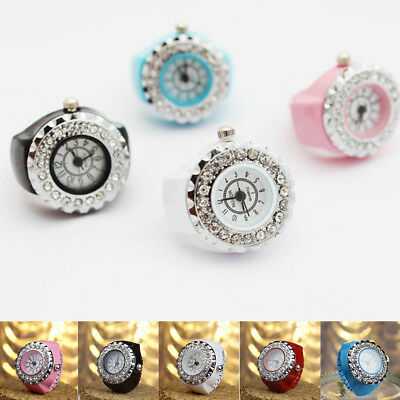 Women Girls Crystal Steel Round Elastic Quartz Finger Ring Watch 5 Colors AU