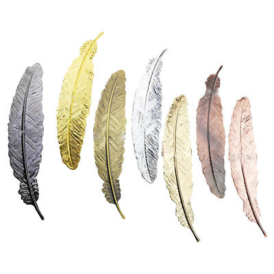 6pcs Different Color Vintage Feather Metal Bookmarks Book Marker for School P8U6