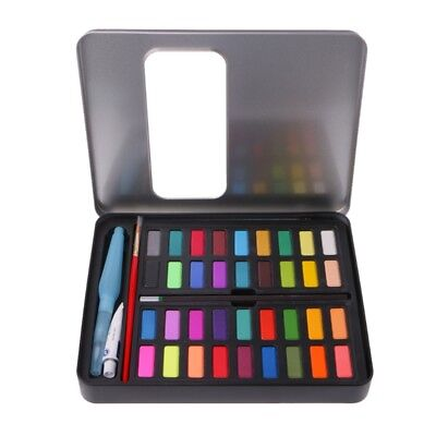 36 Colors Solid Watercolor Artist Painting Set Box with Pens Paper Brush Bag Lot