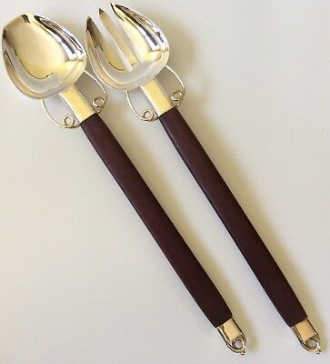 MINT Los Castillo Taxco Silver and Rosewood Salad Servers, Wm Spratling Design