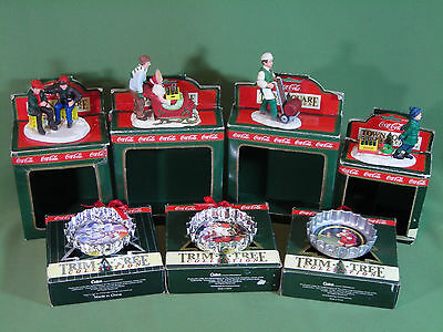Coca – Cola Christmas  Town Sq. People & Bottle Cap Ornaments Lot Of 7 (15-35)