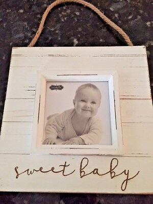 Baby Picture Frame Mud Pie Sweet Baby Hanging Distressed Wood Nursery Decor 8x 8