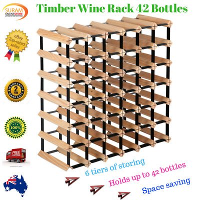 New 42 Bottle Timber Wine Rack Steel complete Storage Wooden Stand heavy duty