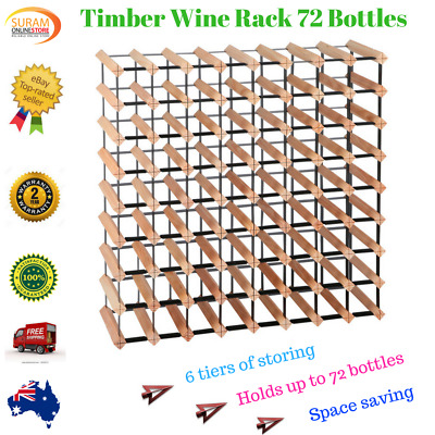 New 72 Bottle Timber Wine Rack Steel complete Storage Wooden Stand heavy duty