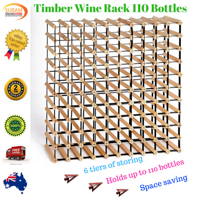 New 110 Bottle Timber Wine Rack Steel complete Storage Wooden Stand heavy duty