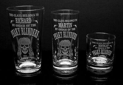 Peaky Blinders, Personalised, Name Engraved Glasses - FREE UK Post
