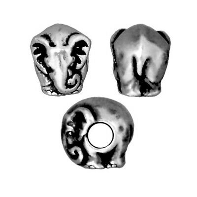 TierraCast Elephant Large Hole Bead, Antique Silver Plated Lead-Free Pewter T315