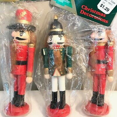 Lot of 3 Vintage Woolworth Nutcrackers Wooden Christmas Ornaments Red Green NEW
