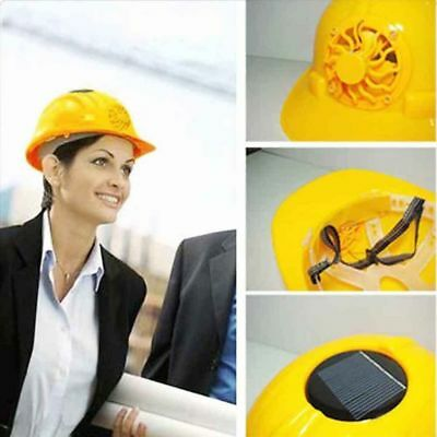 Outdoor Solar Energy Safety Helmet Hard Ventilate Hat Cap Cooling Cool Fan TO