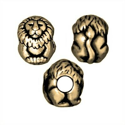TierraCast Lion Large Hole Bead, Brass Ox Plated Lead-Free Pewter (T318)