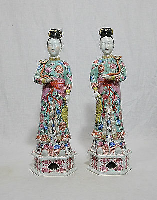 Pair of Chinese  Famille  Rose  Porcelain  Lady  Figures   M706
