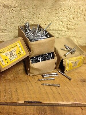 "20 x NETTLEFOLDS 2 1/2"" x 10 CHROME ON BRASS COUNTERSUNK SLOTTED WOOD SCREWS"