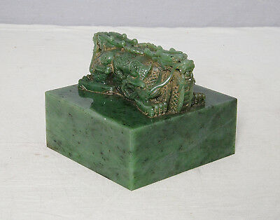 Nice  Hand  Carved  Large  Chinese  Green  Spinach  Jade  Seal      M2396