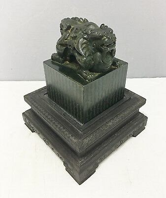 Large  Well  Carved  Chinese  Green  Spinach  Jade  Seal      M2431