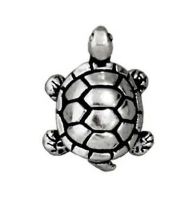 TierraCast Turtle Bead, Antique Silver Plated Lead-Free Pewter (T160)