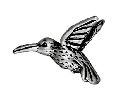 TierraCast Hummingbird Bead, Antique Silver Plated Lead-Free Pewter (T164)