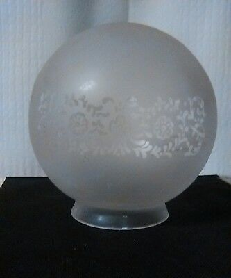 """Vintage White Frosted Etched Glass Ceiling Light Globe Shade 3 1/4"""" Fitter"""