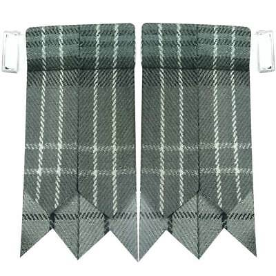 WM Scottish Highland Kilt Hose Socks Flashes Hamilton Grey Tartan Garter Pointed