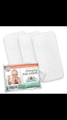 Brooklyn Bamboo Changing Pad Liners 3 Pk SOFT, Hypoallergenic, Reusable White