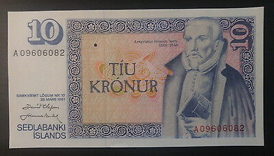 """UNC"" 1961 1981 Iceland 10 Kronur P-48a ""one note price"", #B"