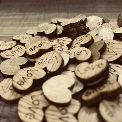 100X Wooden Love Hearts Craft Shape Wedding Christmas Tree Decoration Craft Z