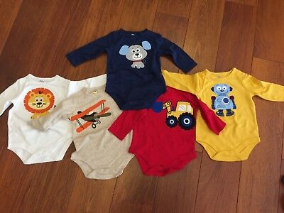 New Never Been Worn 5 Baby Long Sleeves 3-6 Months Bodysuits 100% Cotton & Thick