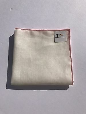 NEW-100% White Linen Pocket Square with Light Pink Trim