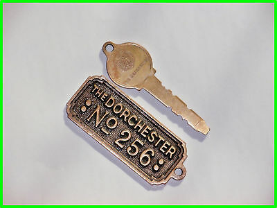Vintage Brass  Dorchester Hotel   Room Key Fob