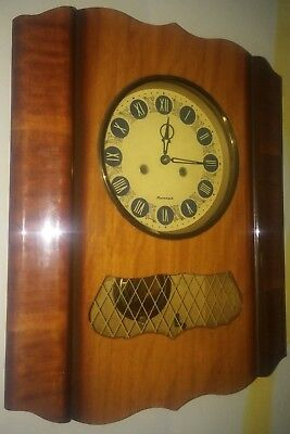Vintage Old USSR Mechanical Grandfather's Wall Clock with Chime