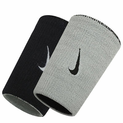 Nike Dri-Fit Wristbands Doublewide Double Wide Home & Away Black Grey Reversible