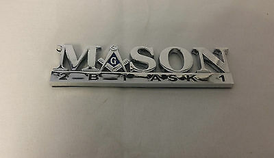 'Mason Masonic 2B1 Ask1  Car Emblem-New!